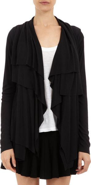 Barneys New York Double-layer Drape-front Cardigan - Lyst