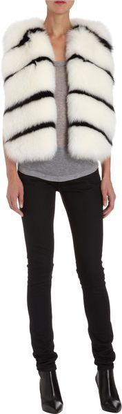 Barneys New York Striped Fox Fur Vest - Lyst