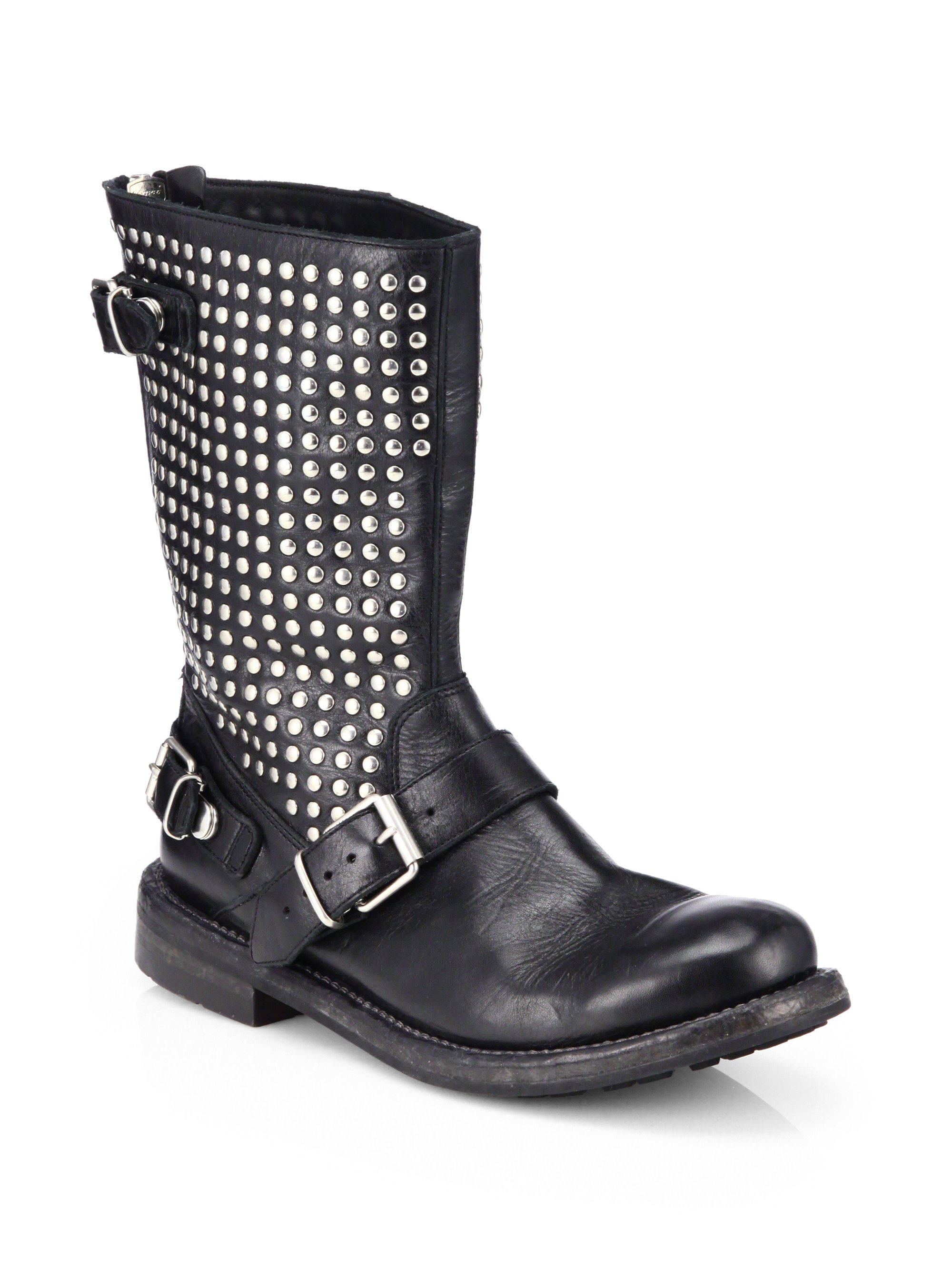 burberry athol studded leather moto boots in black lyst