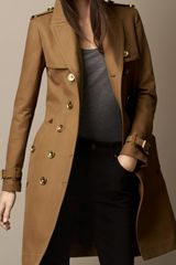 Burberry Long Bonded Cotton Trench Coat with Studded Undercollar - Lyst