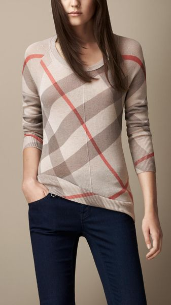 Burberry Reversible Check Sweater - Lyst
