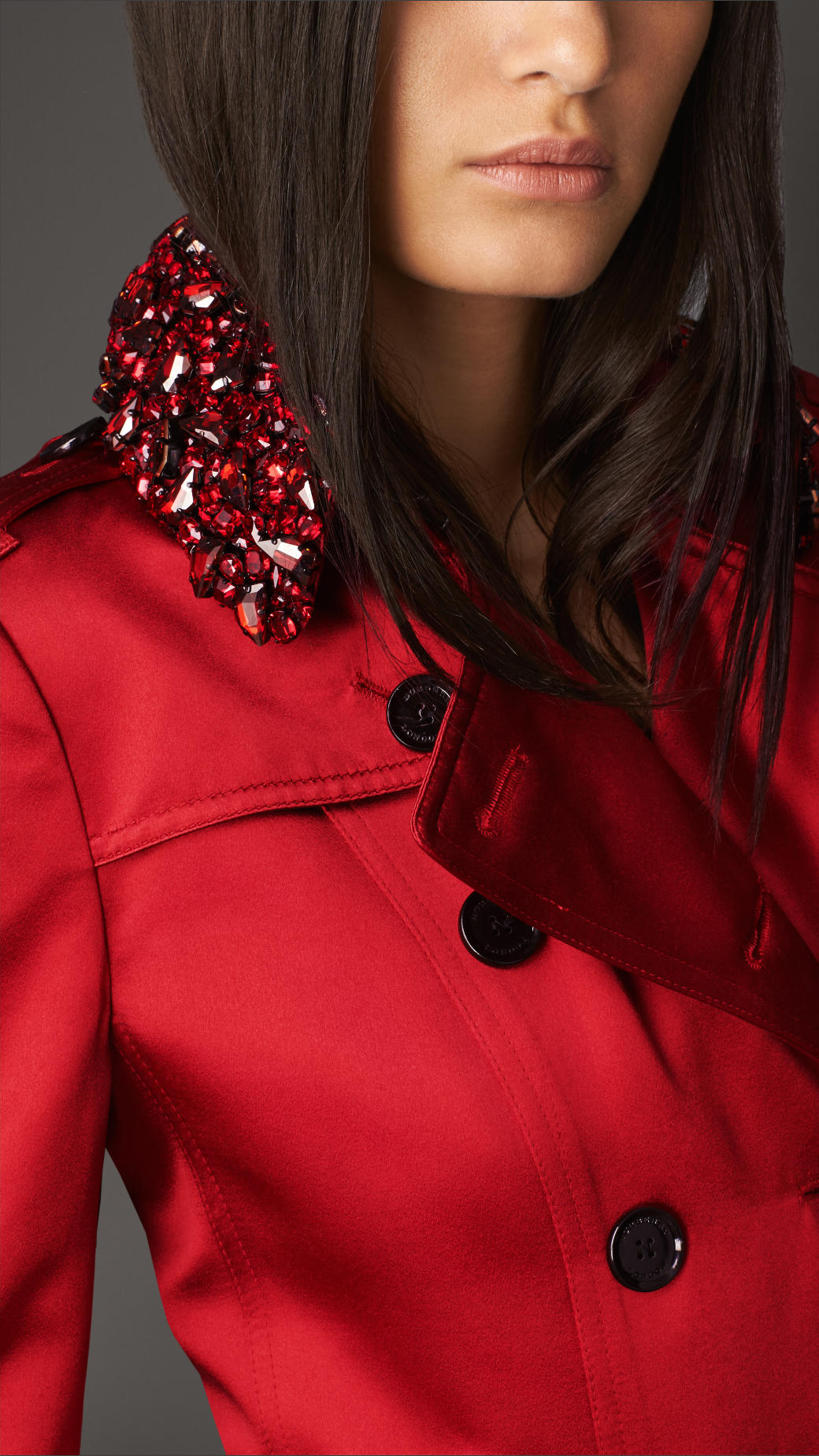 Lyst Burberry Long Gem Collar Satin Trench Coat In Red
