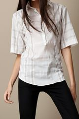 Burberry Crinkled Check Boxfit Shirt - Lyst