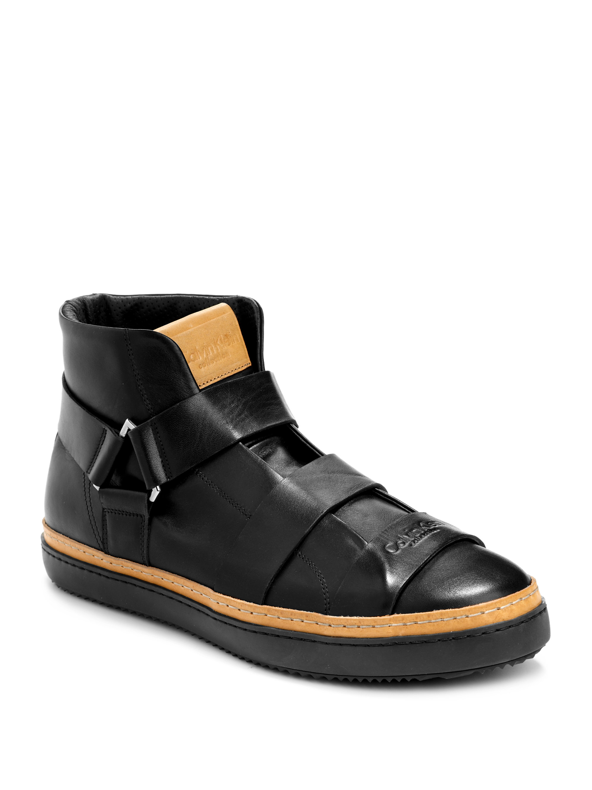 calvin klein high top multistrap leather sneakers in black for men lyst. Black Bedroom Furniture Sets. Home Design Ideas