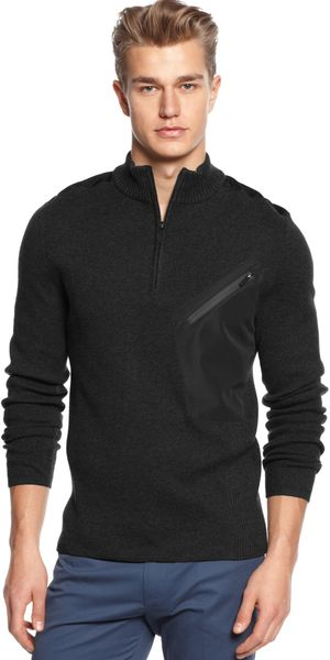 Calvin Klein Logo Quarter Mixed Media Zip Sweater - Lyst