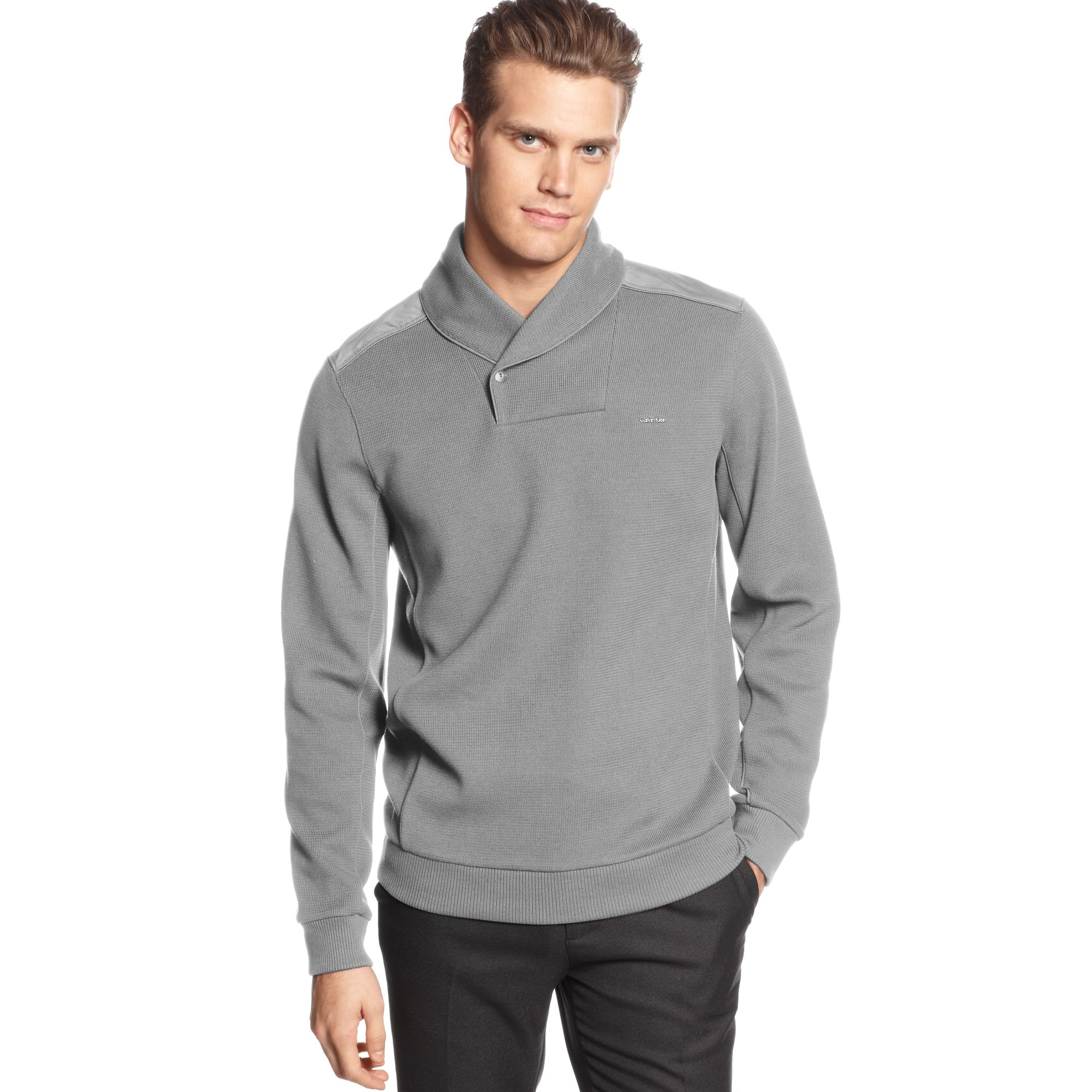 Lyst Calvin Klein Long Sleeve Cable Shawl Collar Shirt In Gray For Men