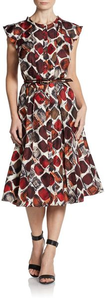 Carolina Herrera Belted Silk Flutter Sleeve Dress - Lyst