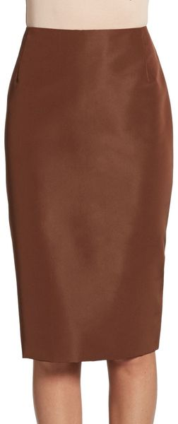 Carolina Herrera Silk Pencil Skirt - Lyst