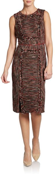 Carolina Herrera Leathertrimmed Tweed Fringe Dress - Lyst