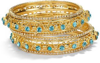 Chamak By Priya Kakkar Twotone Crystal Wrapped Bangle Bracelet Set - Lyst