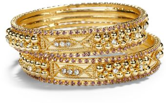 Chamak By Priya Kakkar Crystal Sectioned Bangle Bracelet Set Purple - Lyst