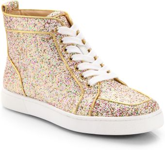 Christian Louboutin Glitter Hightop Sneakers - Lyst