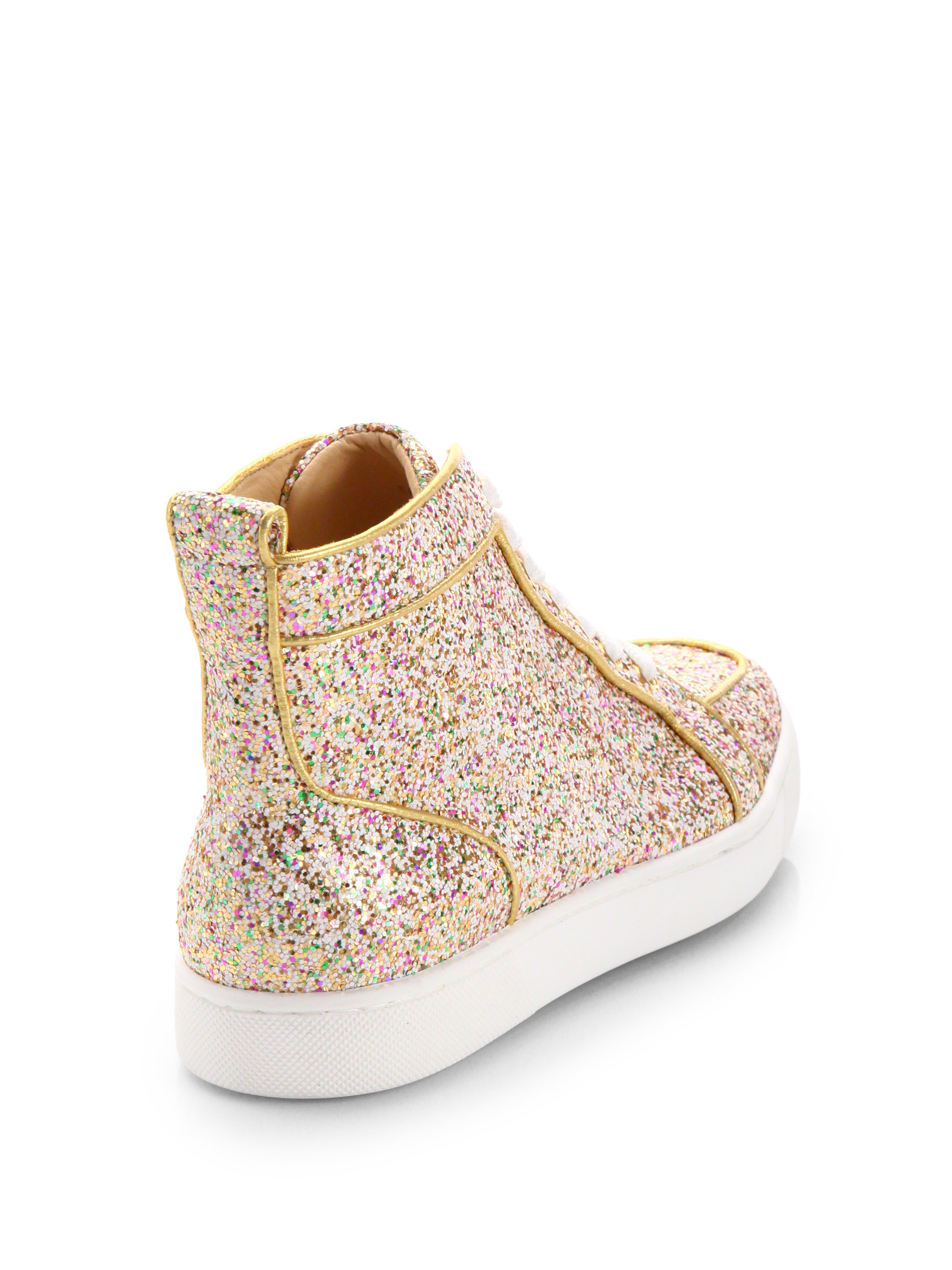 Lyst - Christian Louboutin Glitter Hightop Sneakers in Metallic 4bfdbc7f3a