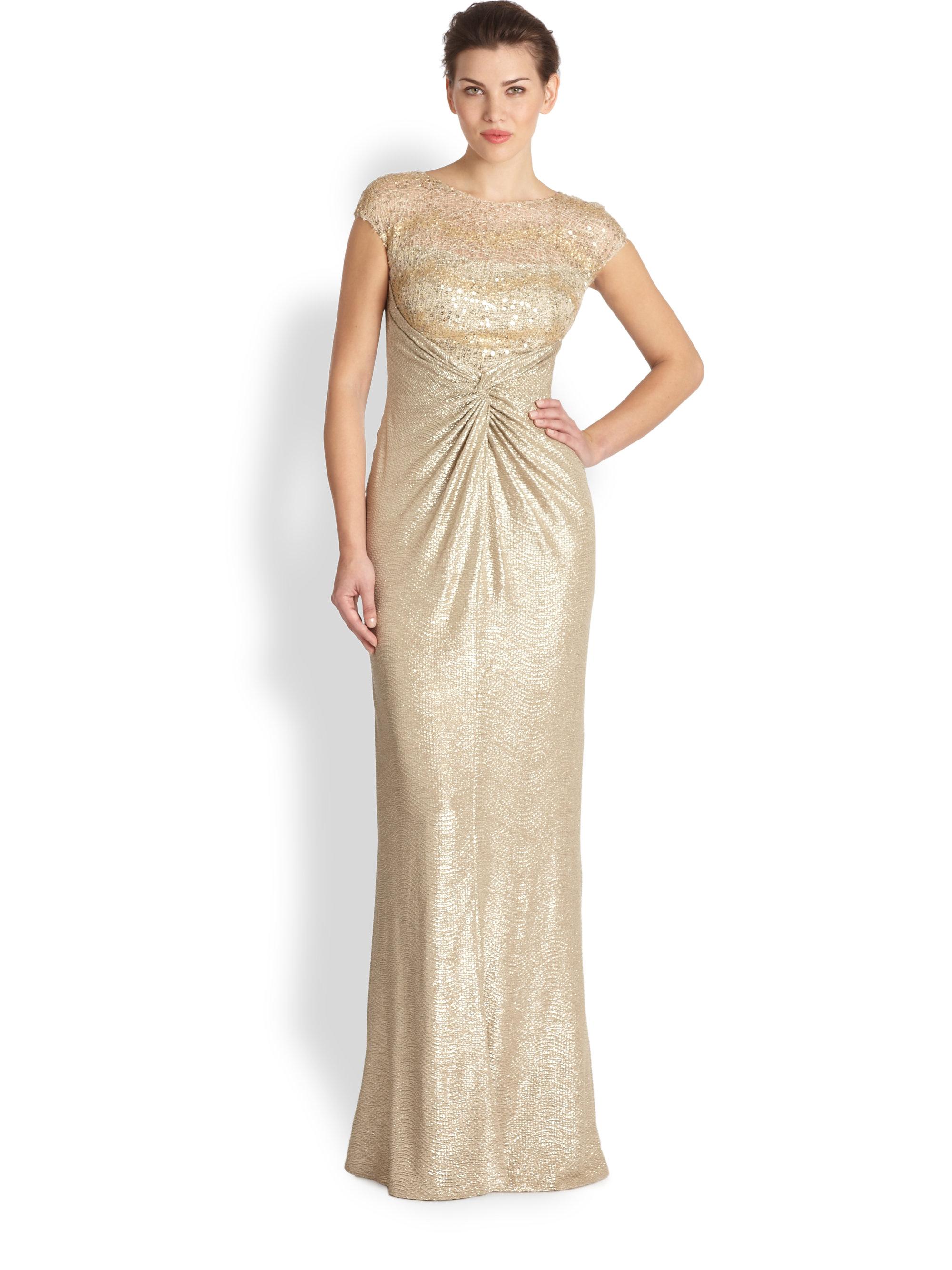 Lyst - David Meister Sequin Lace & Metallic Crepe Gown in Metallic