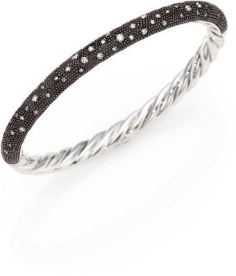 David Yurman Pave Diamond Sterling Silver Bangle Bracelet - Lyst