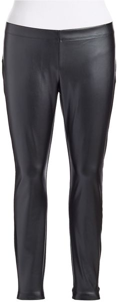 DKNY Plus Faux Leather Ponte Pants - Lyst