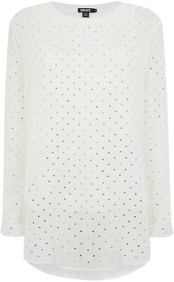 DKNY Studded Sheer Top - Lyst