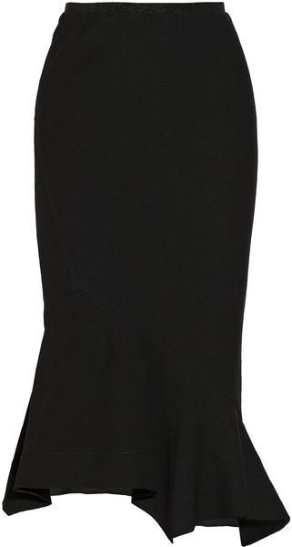 Donna Karan New York Fluted Stretch canvas Skirt - Lyst