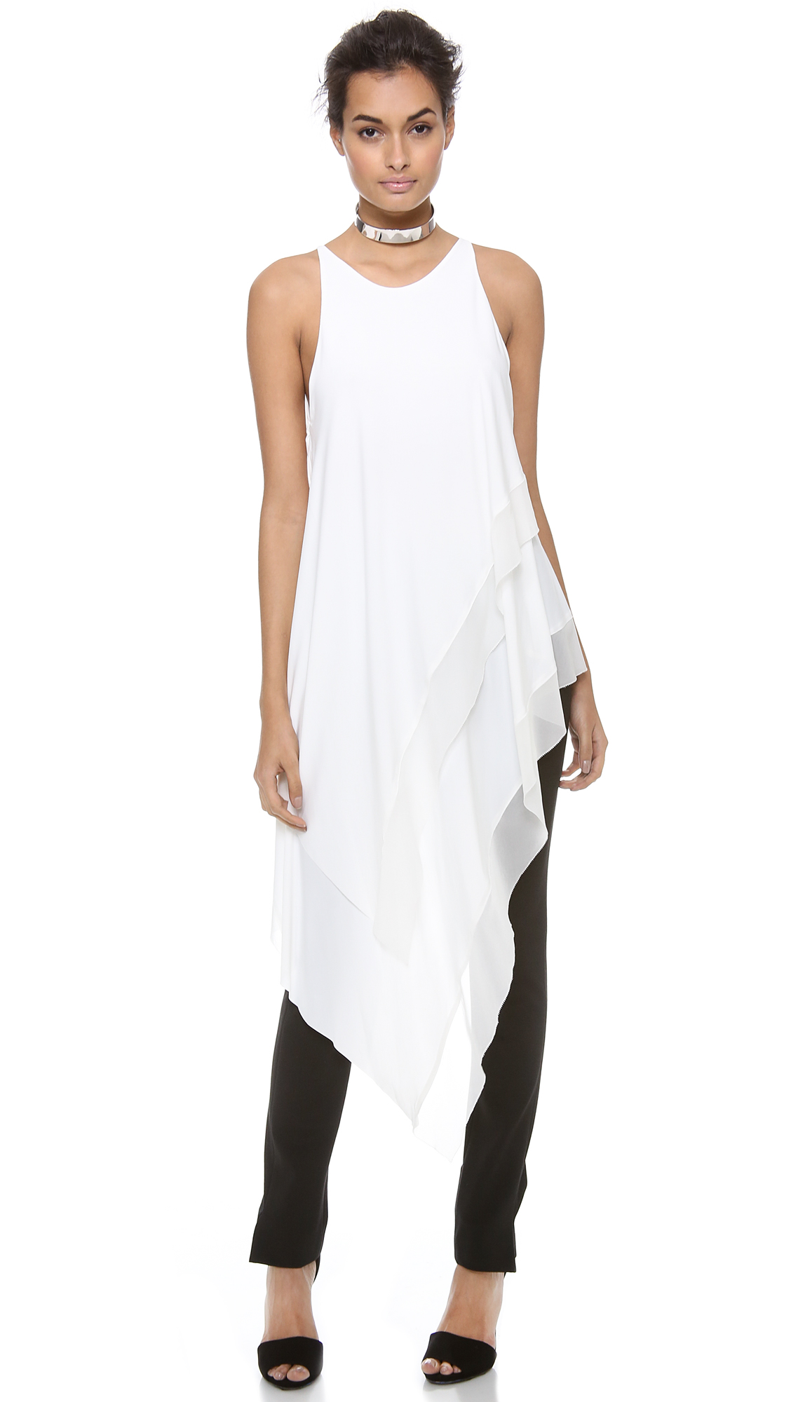 Donna karan new york sleeveless asymmetric top in white for Donna karan new york