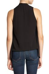 Elizabeth And James Modern Grace Drapedfront Blouse in Black - Lyst