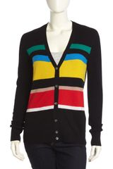 Equipment Cashmere Colorblock Stripe Vneck Cardigan - Lyst