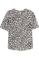 Equipment Logan Leopard-print Washed-silk Top - Lyst