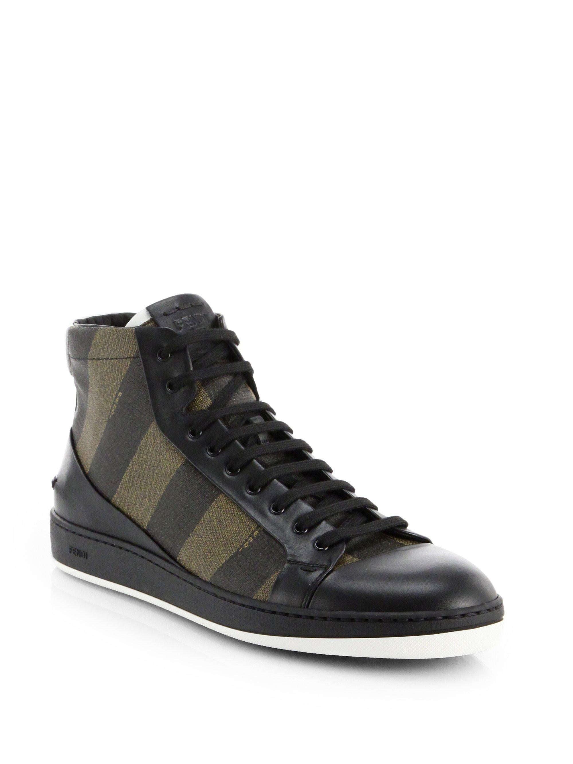 Lyst Fendi Pequin High Top Sneakers In Brown For Men