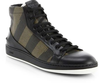 Fendi Pequin Hightop Sneakers - Lyst