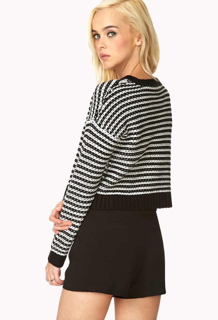 Lyst - Forever 21 Bold Stripes Cropped Sweater in Black