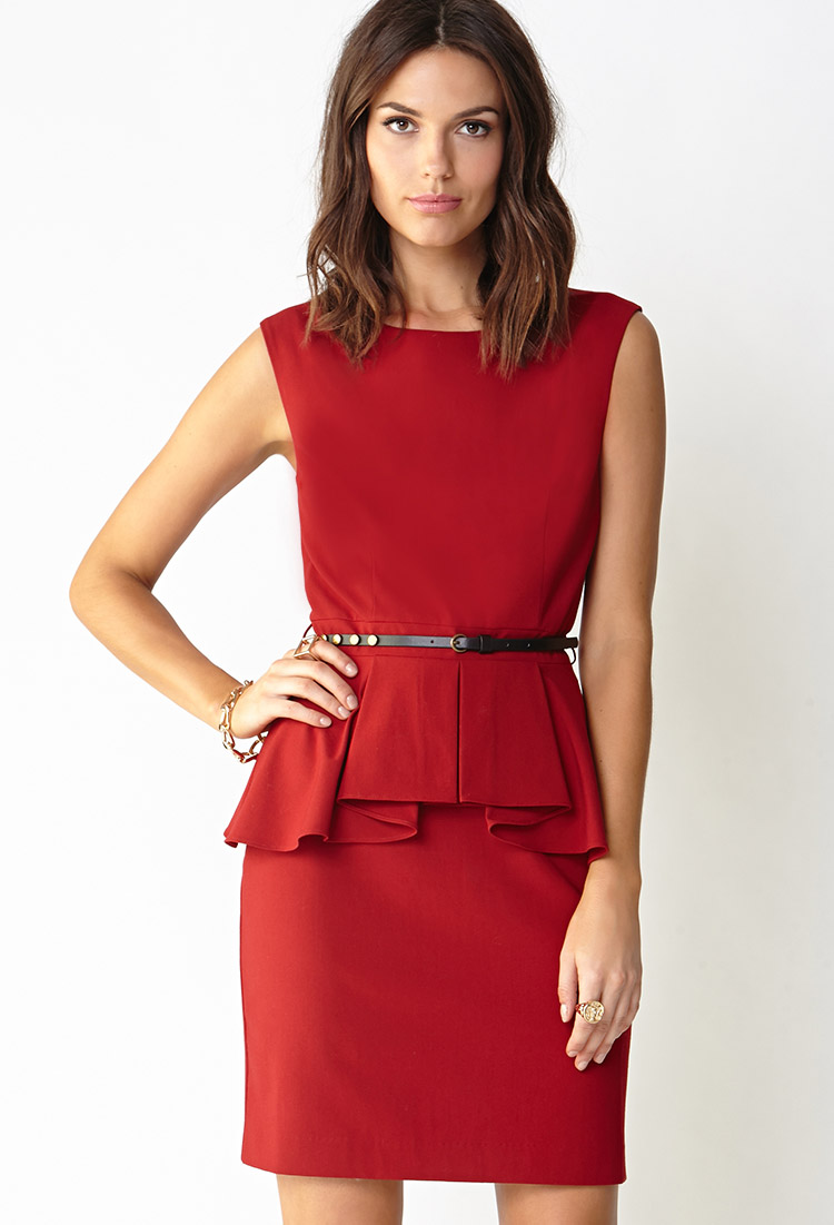 Forever 21 Chic Side Peplum Dress in Red | Lyst