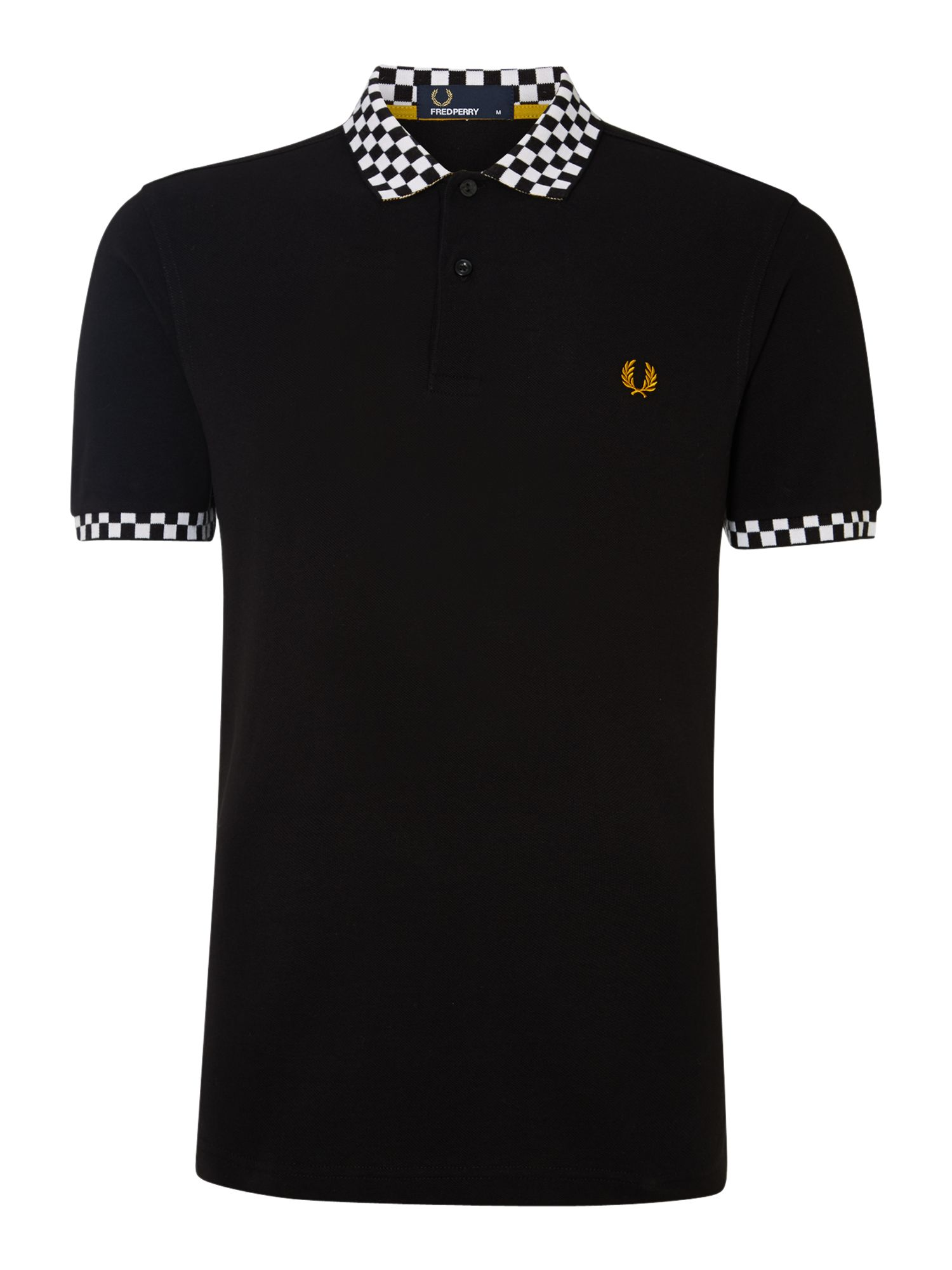 Fred perry polka dot two button down shirt in black for for Button down polka dot shirt