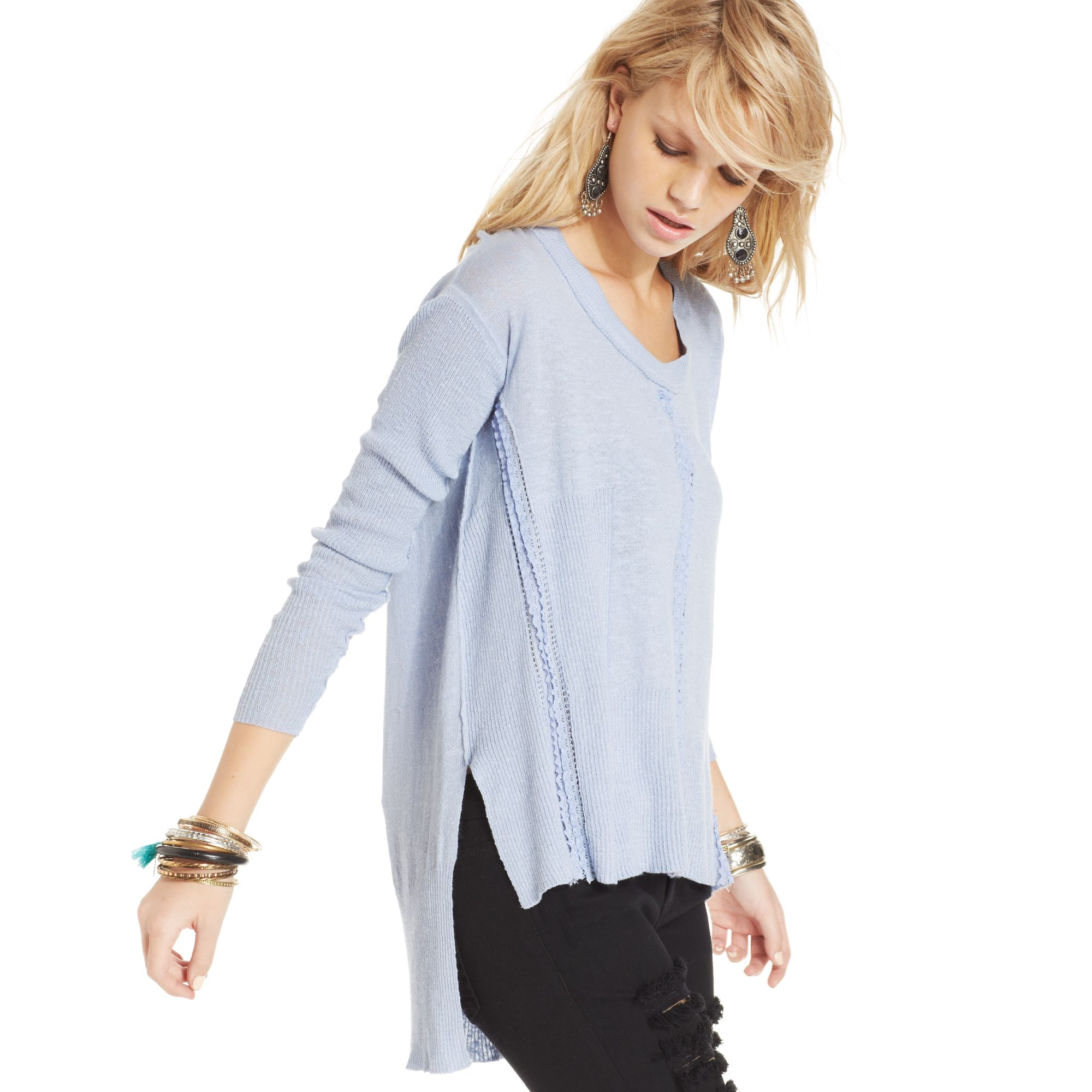 Free people Longsleeve Ribbed Lacetrim High-low Sweater in Blue | Lyst