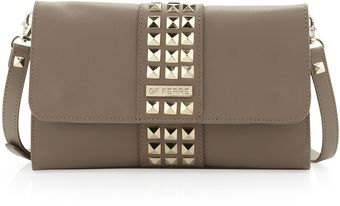 Gianfranco Ferré Studded Flap Crossbody Clutch Bag Brown - Lyst