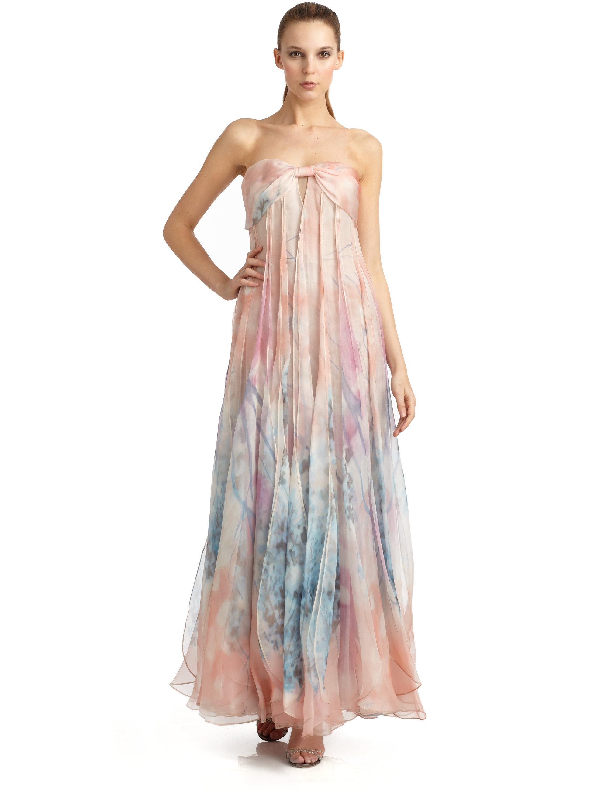 Lyst Giio Armani Watercolor Fl Print Silk Strapless Evening