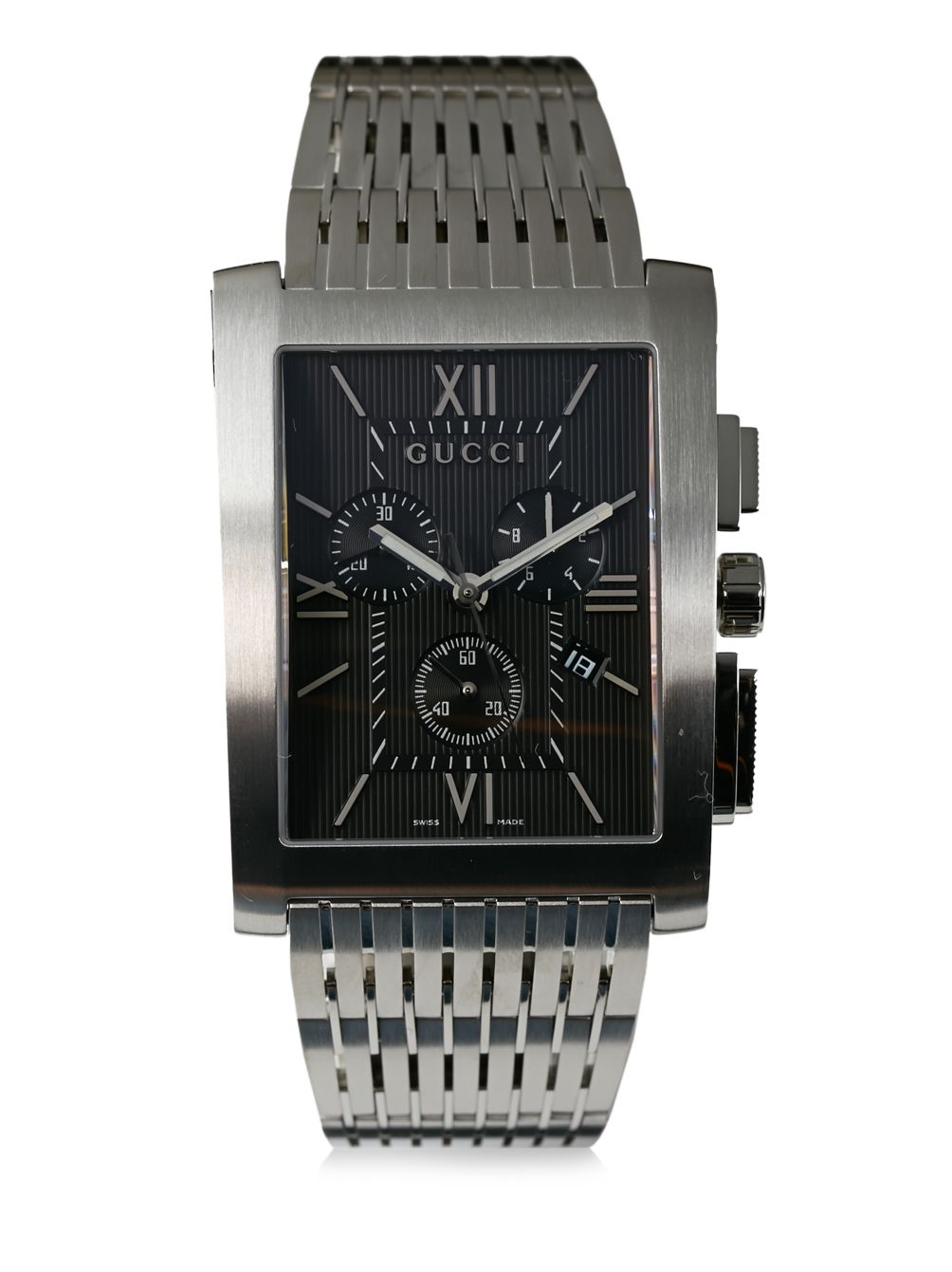 Gucci Stainless Steel Rectangular Chronograph Dial Watch