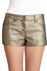 Haute Hippie Metallic Coated Denim Mini Shorts - Lyst