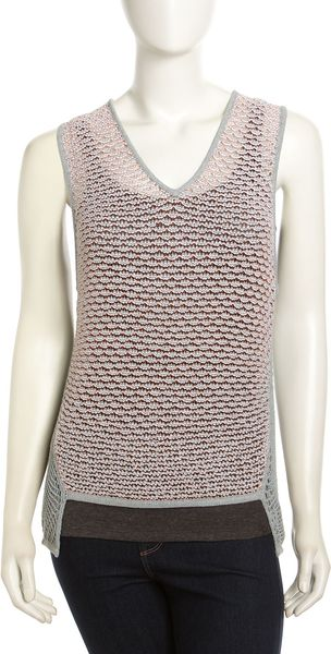 Helmut Lang Loose Crepe-gauze Tank Light Gray-fire - Lyst