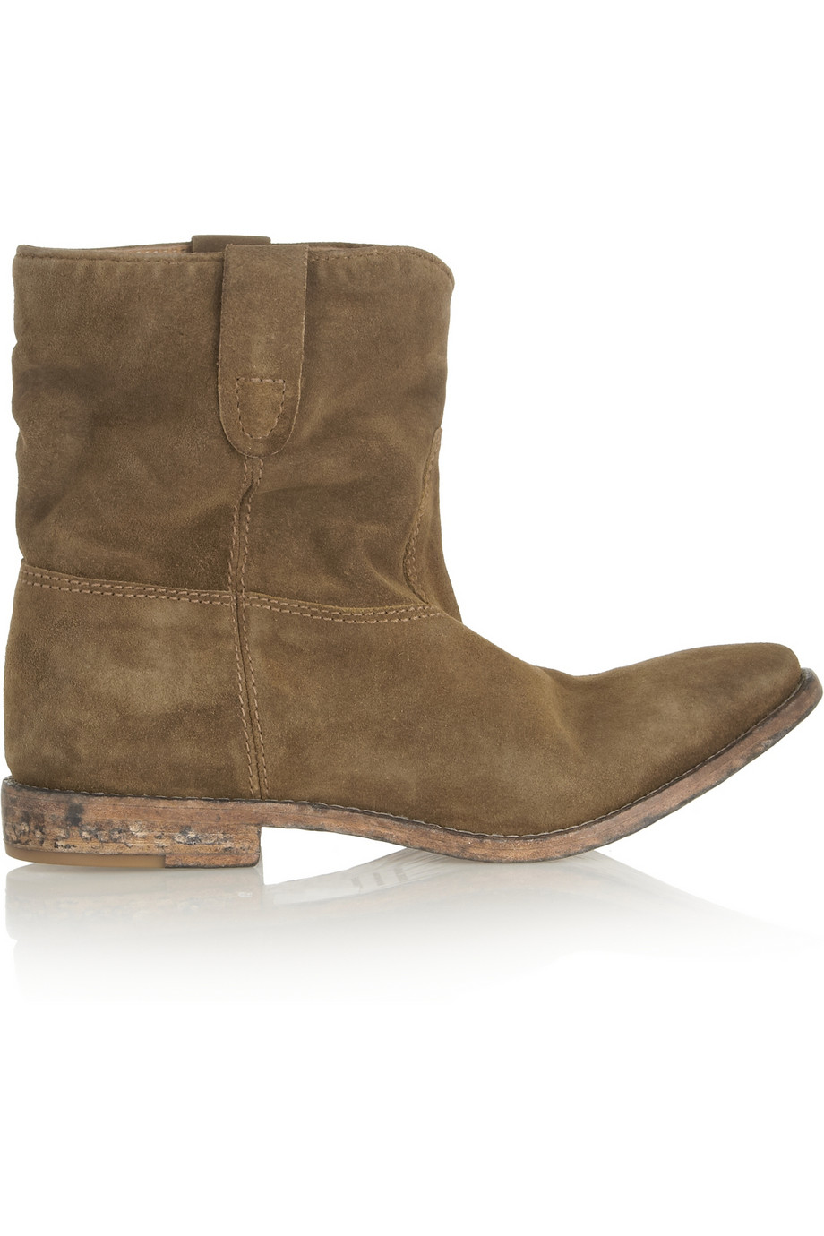 2dc572a9e4b1 Isabel Marant Crisi Suede Concealed Wedge Biker Boots in Brown - Lyst