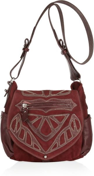 Isabel Marant Ballwin Embroidered Leather and Suede Shoulder Bag in Red