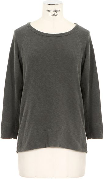 James Perse Charcoal Threequarter Sleeves Cotton Sweater - Lyst