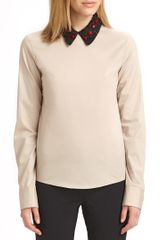 Jil Sander Navy Embroidered Collar Blouse - Lyst