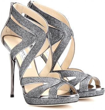 Jimmy Choo Collar Glitteredcanvas Sandals - Lyst