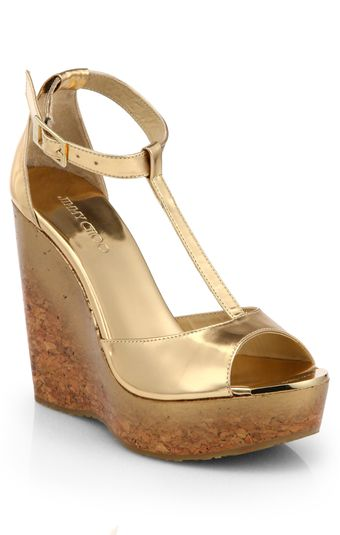 Jimmy Choo Pela Degrade Metallic Leather Cork Wedge Sandals - Lyst