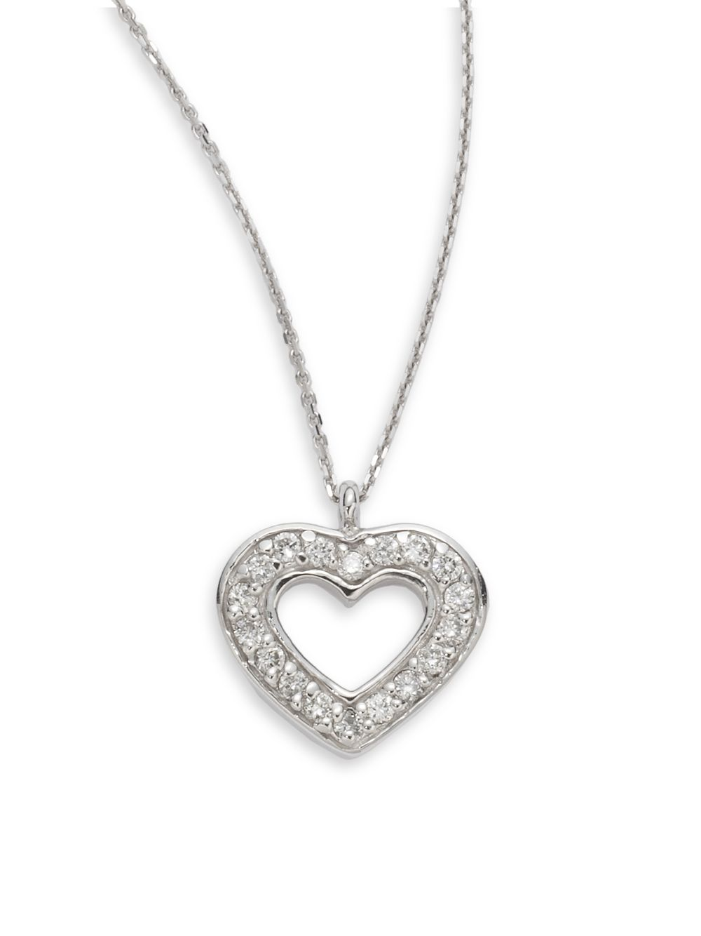 Lyst kc designs diamond 14k white gold open heart pendant necklace gallery mozeypictures Image collections