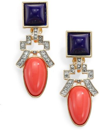 Kenneth Jay Lane Deco Clipon Drop Earrings - Lyst
