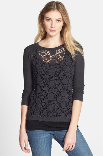 Kensie Raglan Sleeve Lace Sweater - Lyst