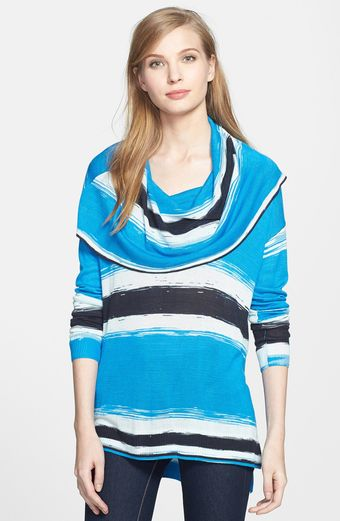 Kensie Cowl Neck Stripe Sweater - Lyst