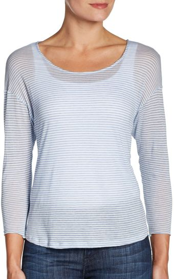 L'Agence Sheer Striped Tee - Lyst