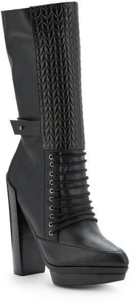 L.a.m.b. Natty Leather Embossed Shaft Boots - Lyst