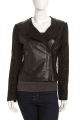 Laundry By Shelli Segal Asymmetrical Zip Mixed-media Jacket Black - Lyst